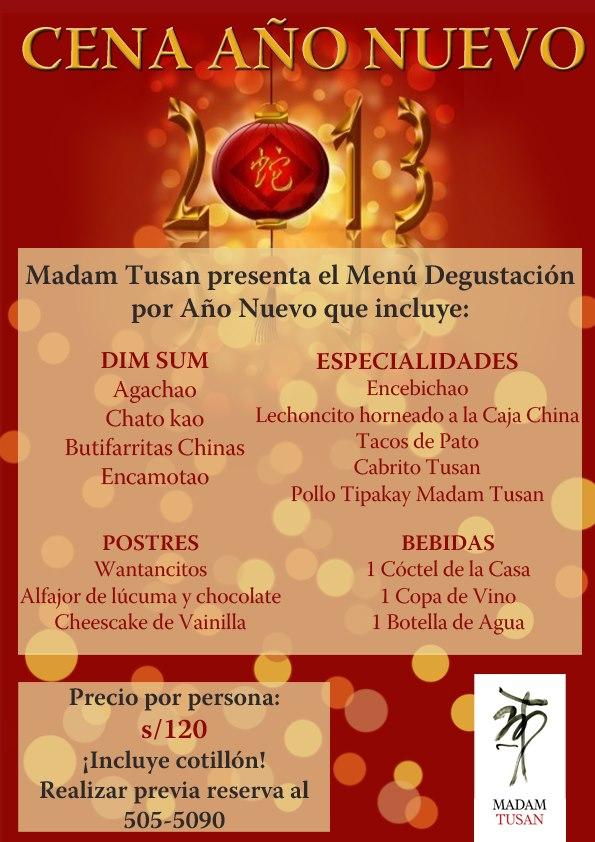 Comida de año nuevo en Madame Tusan