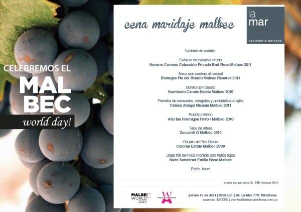 Comida en La Mar: Día Mundial del Malbec 2013
