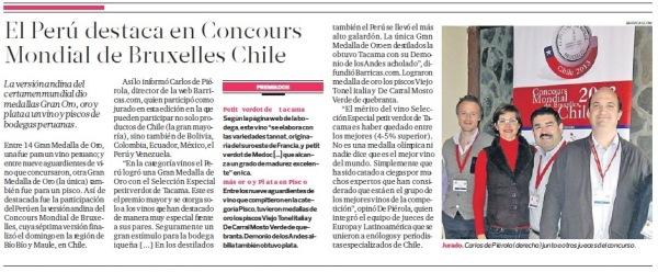 Carlos de Piérola: único juez peruano en Concours Mondial de Bruxelles (Chile 2013)